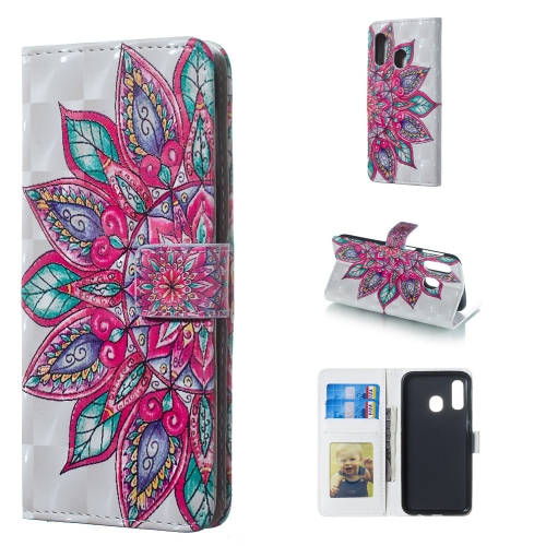 Half Flower Pattern 3D Horizontal Flip Leather Case for Galaxy A40, with Holder & Card Slots & Photo Frame & Wallet