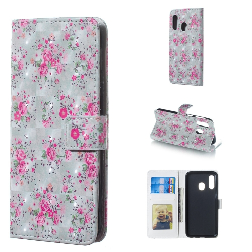 Rose Pattern 3D Horizontal Flip Leather Case for Galaxy A40, with Holder & Card Slots & Photo Frame & Wallet