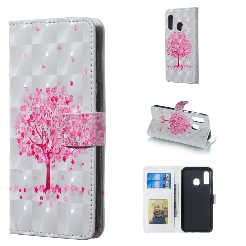 Pink Tree Pattern 3D Horizontal Flip Leather Case for Galaxy A40, with Holder & Card Slots & Photo Frame & Wallet