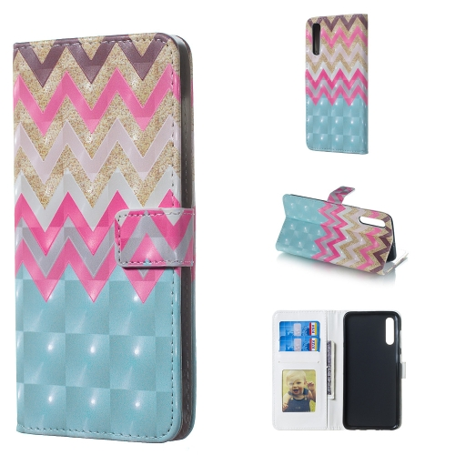 Color Wave 3D Pattern Horizontal Flip Leather Case for Galaxy A50, with Holder & Card Slots & Photo Frame & Wallet