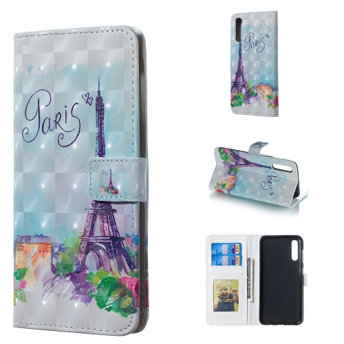 Tower Pattern 3D Horizontal Flip Leather Case for Galaxy A50, with Holder & Card Slots & Photo Frame & Wallet