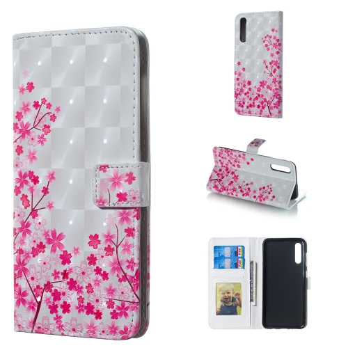 Sakura Pattern 3D Horizontal Flip Leather Case for Galaxy A50, with Holder & Card Slots & Photo Frame & Wallet