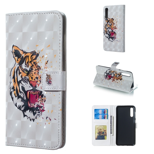 Tiger Pattern 3D Horizontal Flip Leather Case for Galaxy A50, with Holder & Card Slots & Photo Frame & Wallet