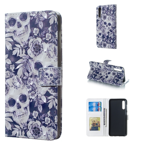 Skull and Flower Pattern 3D Horizontal Flip Leather Case for Galaxy A50, with Holder & Card Slots & Photo Frame & Wallet