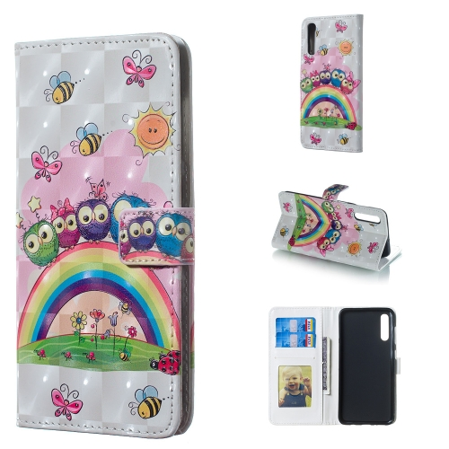 Owl Family Pattern 3D Horizontal Flip Leather Case for Galaxy A50, with Holder & Card Slots & Photo Frame & Wallet