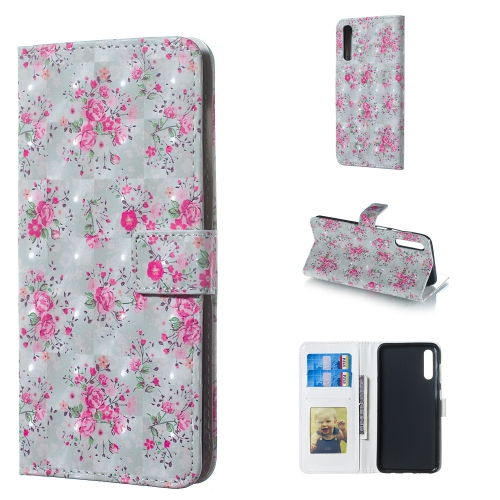 Rose Pattern 3D Horizontal Flip Leather Case for Galaxy A50, with Holder & Card Slots & Photo Frame & Wallet