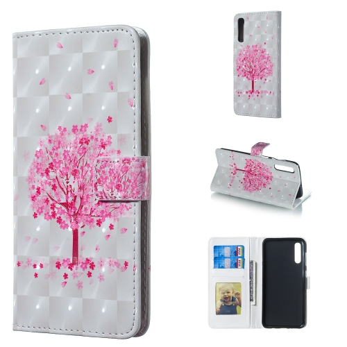 Pink Tree Pattern 3D Horizontal Flip Leather Case for Galaxy A50, with Holder & Card Slots & Photo Frame & Wallet