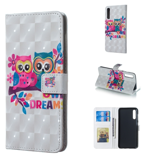Lovers Owl Pattern 3D Horizontal Flip Leather Case for Galaxy A50, with Holder & Card Slots & Photo Frame & Wallet