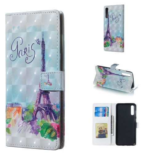 Tower Pattern 3D Horizontal Flip Leather Case for Galaxy A70, with Holder & Card Slots & Photo Frame & Wallet