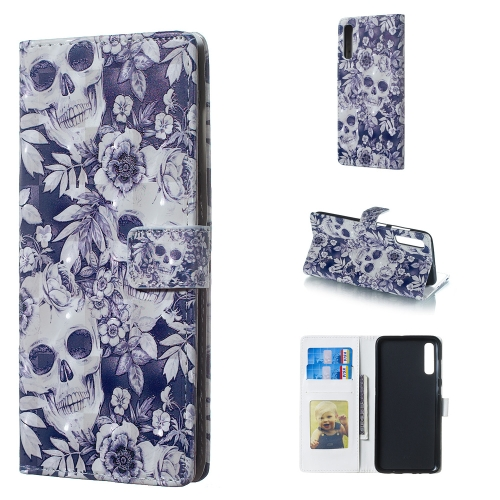 Skull and Flower Pattern 3D Horizontal Flip Leather Case for Galaxy A70, with Holder & Card Slots & Photo Frame & Wallet