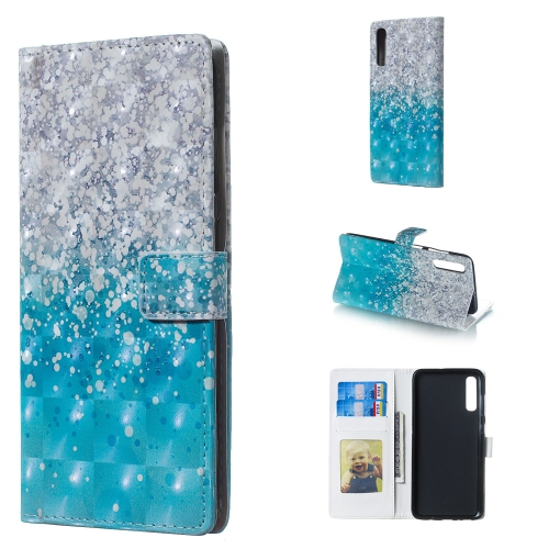 Sea and Sand Pattern 3D Horizontal Flip Leather Case for Galaxy A70, with Holder & Card Slots & Photo Frame & Wallet