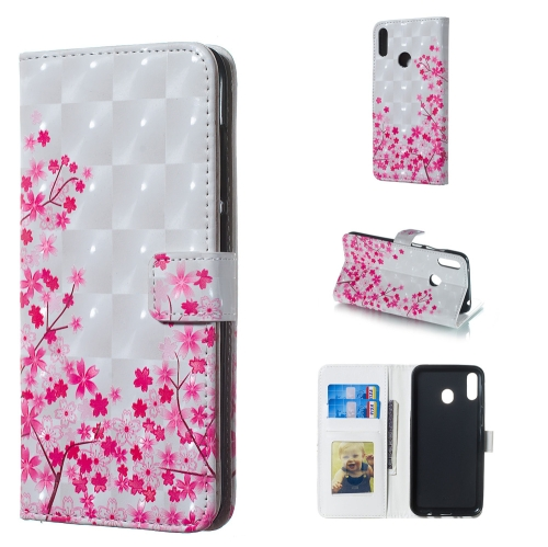 Sakura Pattern 3D Horizontal Flip Leather Case for Galaxy M20, with Holder & Card Slots & Photo Frame & Wallet