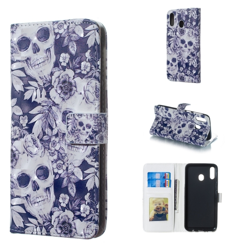 Skull and Flower Pattern 3D Horizontal Flip Leather Case for Galaxy M20, with Holder & Card Slots & Photo Frame & Wallet