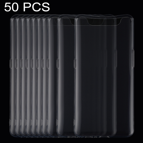 50 PCS 0.75mm Ultrathin Transparent TPU Soft Protective Case for Galaxy A80