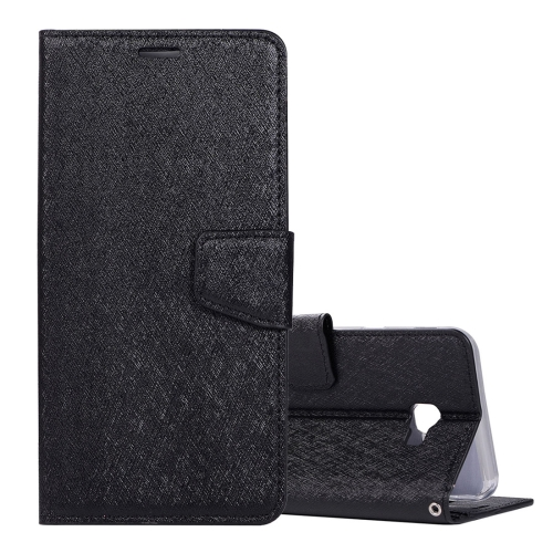 Silk Texture Horizontal Flip Leather Case for Galaxy J4+ / J4 Prime, with Holder & Card slots & Wallet & Photo Frame (Black)