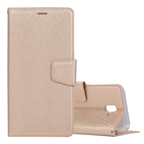 Silk Texture Horizontal Flip Leather Case for Galaxy J6+ / J6 Prime, with Holder & Card slots & Wallet & Photo Frame (Gold)