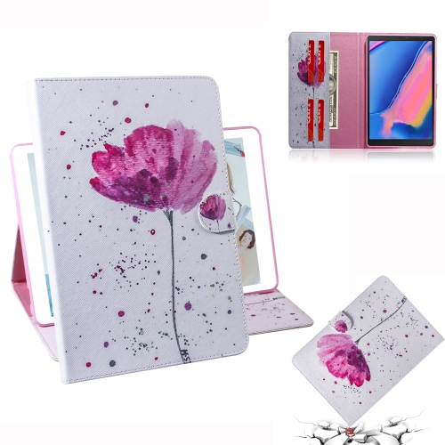 Purple Orchids Pattern Horizontal Flip Leather Case for Galaxy Tab A 8 (2019) / P200 / P205, with Holder & Card Slot & Wallet