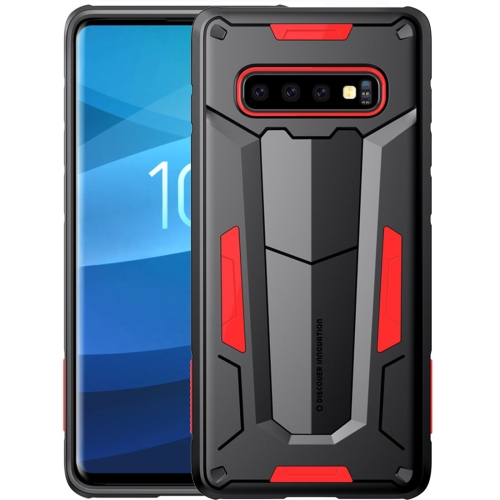 NILLKIN Tough Defener II Case Shockproof TPU + PC Case for Galaxy S10 Plus (Red)