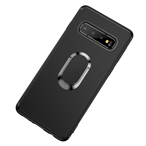 Shockproof TPU Full Protective Case for Galaxy S10 Plus, with 360 Degree Rotation Holder (Black)