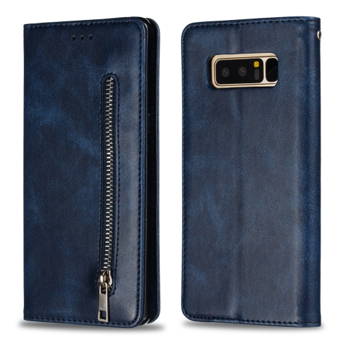 Calf Texture Zipper Magnetic Horizontal Flip Leather Case for Galaxy Note8, with Wallet & Holder & Card Slots (Blue)