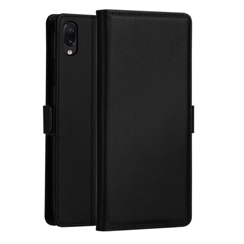 DZGOGO MILO Series PC + PU Horizontal Flip Leather Case for Galaxy M10, with Holder & Card Slot & Wallet (Black)