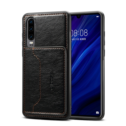 Dibase TPU + PC + PU Crazy Horse Texture Protective Case for Galaxy A70, with Holder & Card Slots(Black)