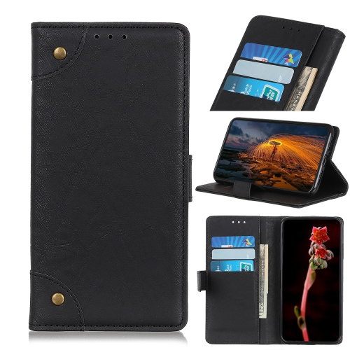 Copper Buckle Retro Crazy Horse Texture Horizontal Flip Leather Case for Galaxy A50, with Holder & Card Slots & Wallet (Black)