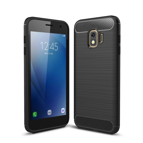 Brushed Texture Carbon Fiber Shockproof TPU Case for Galaxy J2 Core (Black)