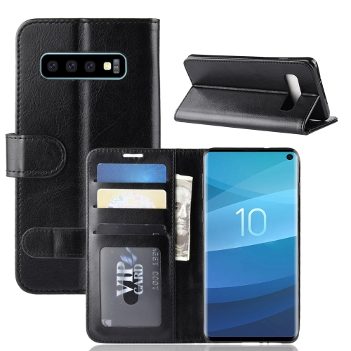 R64 Texture Single Fold Horizontal Flip Leather Case for Galaxy S10, with Holder & Card Slots & Wallet (Black)