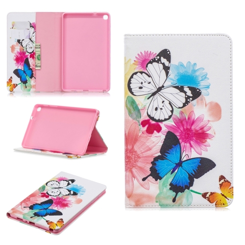 Colored Drawing Two Butterflies Pattern Horizontal Flip Leather Case for Galaxy Tab A 8 (2019) P200 / P205, with Holder & Card Slots & Wallet
