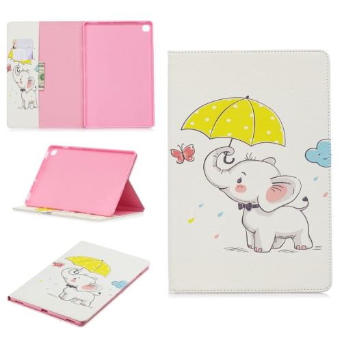 Colored Drawing Elephant under the Umbrella Pattern Horizontal Flip Leather Case for Galaxy Tab S5e 10.5 T720 / T725, with Holder & Card Slots & Wallet