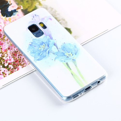 For Galaxy S9 Painting Purple Flower Pattern TPU Protective Back Case hole cc 96mm 128mm door furniture knob handle pull cabinet knob with diamond