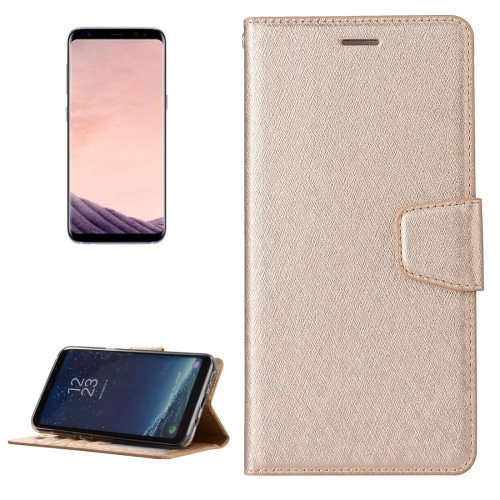 For Samsung Galaxy S8 Silk Texture Horizontal Flip Leather Case with Wallet & Holder & Card Slot & Photo Frame, Gold