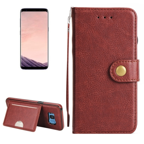 For Samsung Galaxy S8 + / G955 Litchi Texture Detachable Rivet buckle Horizontal Flip Leather Case with Holder & Card Slots & Wallet & Photo Frame & Lanyard, Brown