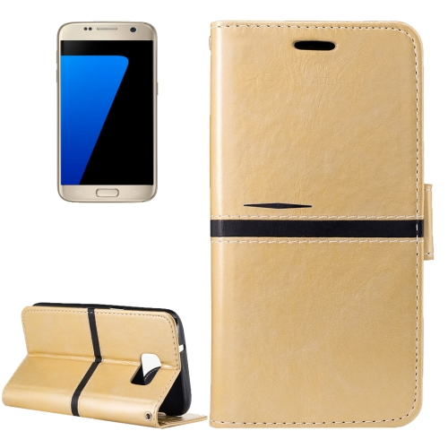 Buy For Samsung Galaxy S7 / G930 Crazy Horse Texture PU Leather Horizontal Flip Leather Case with Holder & Card Slots & Wallet & Photo Frame & Lanyard, Gold for $2.64 in SUNSKY store