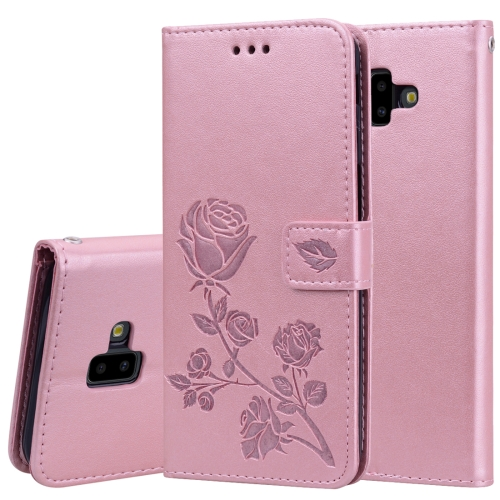 Rose Embossed Horizontal Flip PU Leather Case for Samsung Galaxy J6 Plus, with Holder & Card Slots & Wallet (Rose Gold)