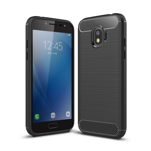 For Galaxy J2 Pro (2018) Brushed Texture Carbon Fiber Shockproof TPU Rugged Armor Protective Case (Black)