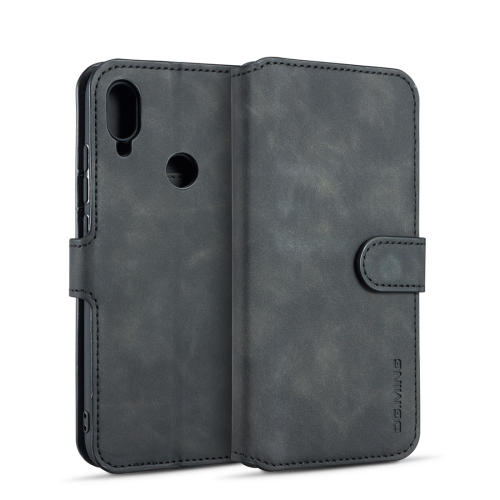 DG.MING Retro Oil Side Horizontal Flip Case for Galaxy A40, with Holder & Card Slots & Wallet (Black)
