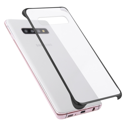 Ultra-thin Transparent Plating PC Protestive Back Case for Galaxy S10 (Black)