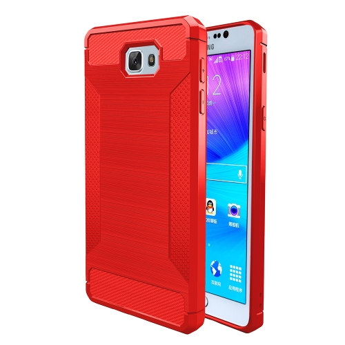 For Samsung Galaxy J5 Prime Brushed Texture Carbon Fiber Anti-slip TPU Protective Cover Case, Red