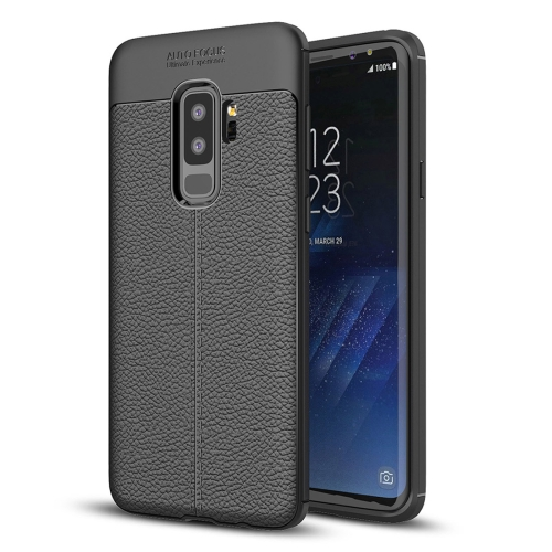 For Galaxy S9+ Litchi Texture Soft TPU Anti-skip Protective Cover Back Case(Black)
