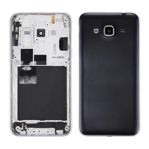 Battery Back Cover + Middle Frame Bezel for Galaxy J3 (2016) / J320 (Double card version)(Black)