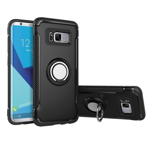 Buy For Samsung Galaxy S8 + / G955 Phone Ring Armor TPU + PC Magnetic suction 360 Degrees Rotation Magnetic Phone Ring Stent Combination Case, Black for $2.28 in SUNSKY store
