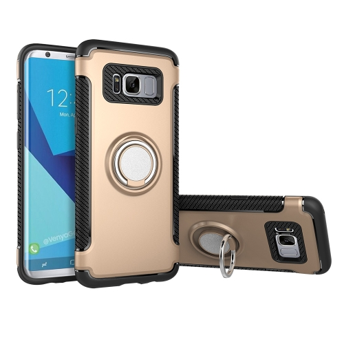 Buy For Samsung Galaxy S8 + / G955 Phone Ring Armor TPU + PC 360 Degrees Rotation Magnetic Phone Ring Stent Combination Case, Gold for $2.28 in SUNSKY store