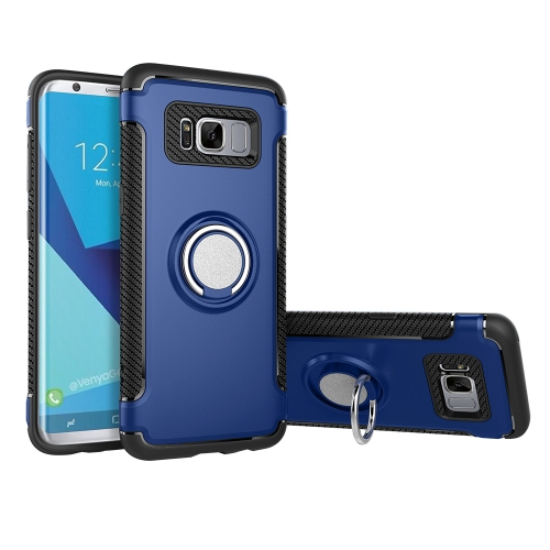 Buy For Samsung Galaxy S8 + / G955 Phone Ring Armor TPU + PC 360 Degrees Rotation Magnetic Phone Ring Stent Combination Case, Blue for $2.28 in SUNSKY store