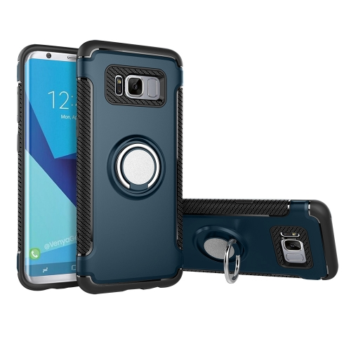 Buy For Samsung Galaxy S8 + / G955 Phone Ring Armor TPU + PC 360 Degrees Rotation Magnetic Phone Ring Stent Combination Case, navy for $2.28 in SUNSKY store