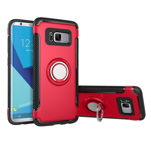 For Samsung Galaxy S8 + / G955 Phone Ring Armor TPU + PC 360 Degrees Rotation Magnetic Phone Ring Stent Combination Case, Red