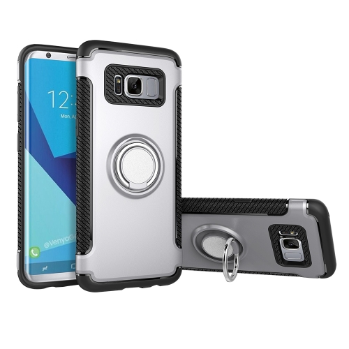 Buy For Samsung Galaxy S8 + / G955 Phone Ring Armor TPU + PC 360 Degrees Rotation Magnetic Phone Ring Stent Combination Case, Silver for $2.28 in SUNSKY store