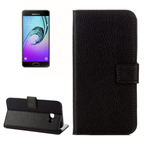 Buy For Samsung Galaxy A5, 2017 / A520 Litchi Texture Horizontal Flip Leather Case with Holder & Card Slots & Wallet, Black for $2.33 in SUNSKY store
