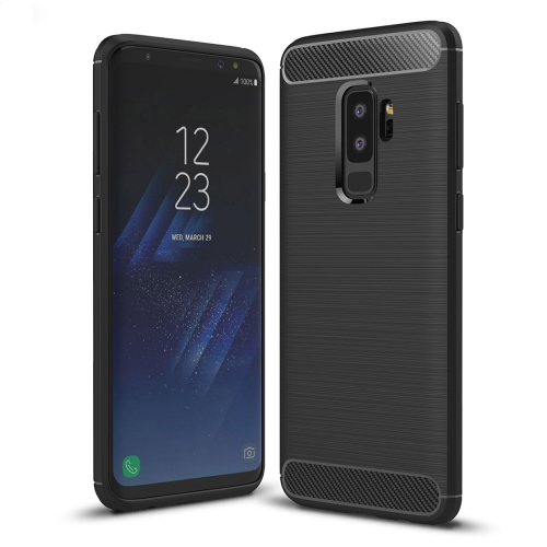 For Galaxy S9+ Brushed Carbon Fiber Texture Soft TPU Anti-skip Protective Cover Back Case(Black)
